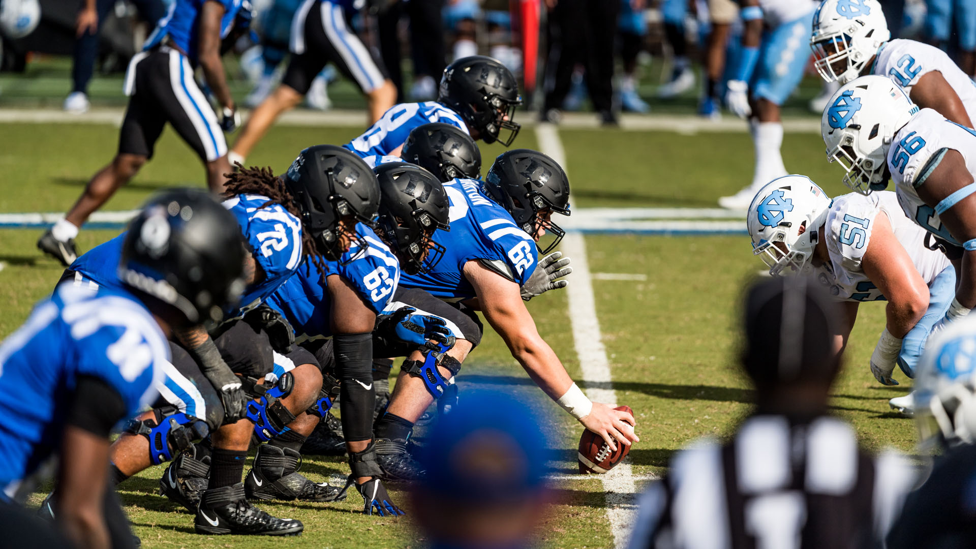The offensive line gets ready to block prior to a snap against North Carolina