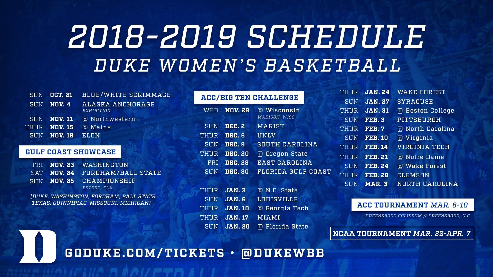 2018 19 Women S Basketball Schedule Released Duke University