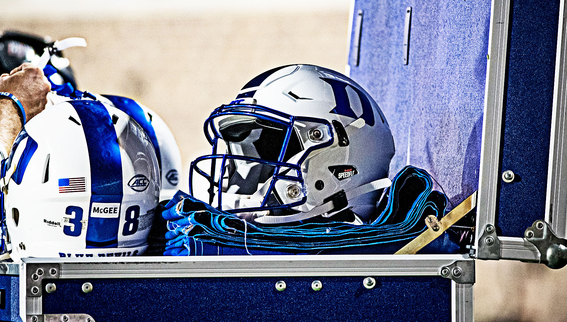 A Duke Helmet sits unused during a timeout of the Blue Devils game with Virginia Tech.
