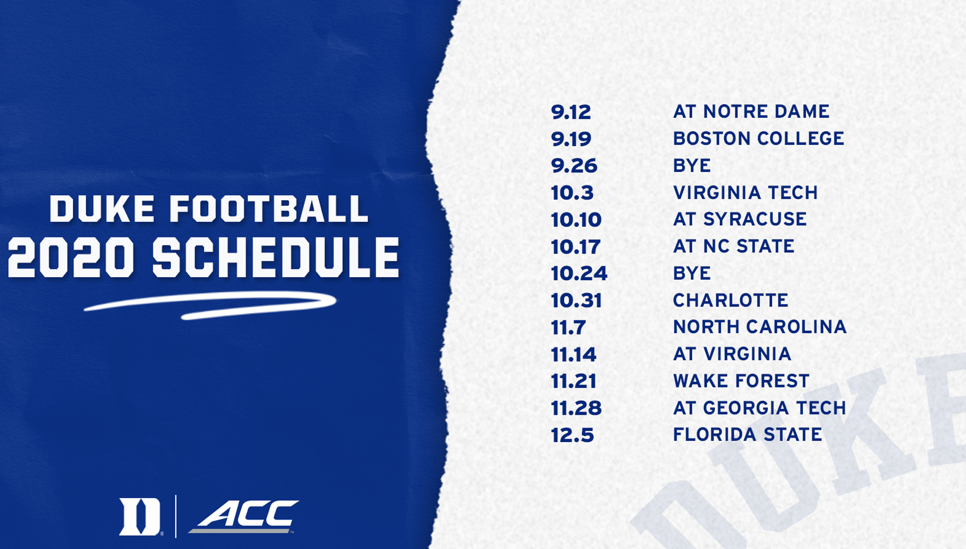 Duke S Amended 2020 Football Schedule Released Duke University